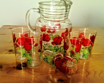Vintage Mid Century Clear Glass Water Pitcher and Five Glasses With Red Roses