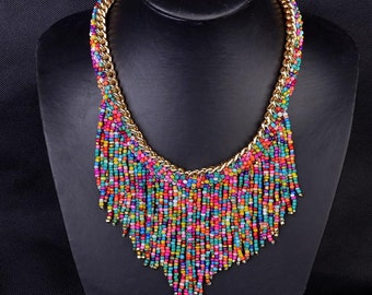 Beautiful Handmade Colorful Statement Necklace
