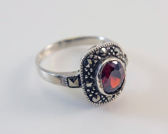 Oval-Shaped Garnet and Marcasite Ring