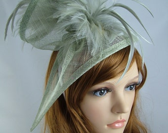 Silver Grey Sinamay & Feathers Twist Fascinator - Hat Occasion Wedding Races