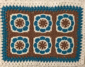 Littlebits Newborn Baby Crocheted White, Aqua Blue & Tan Granny Square Mini Layer Blanket/Coverlet - Handcrafted in Australia RTS