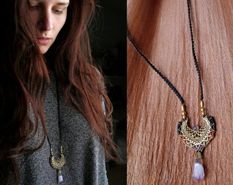 Necklace with amethyst and brass