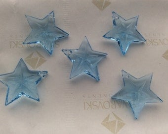 2 pieces Vintage Swarovski #6716 20mm Crystal Aquamarine Star Faceted Pendants Beads