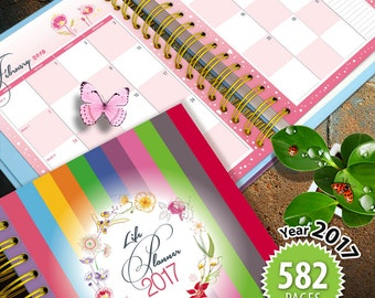 """Life Planner (582 pages) Printable 2017, 365 days binder kit, Letter size 11"""" x 8.5"""", Two-Page layout, floral theme, start sunday (P0012)"""