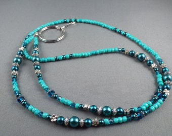 Customizable lanyard ,beaded lanyard , your choice of attachment ID holder ,keychain holder, eyeglasses holder or eyeglasses lanyard