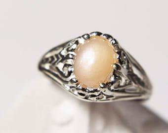 Genuine Peach Moonstone Fancy Ring