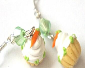 Carrot Cupcake Earrings- miniature food jewelry, dessert jewelry