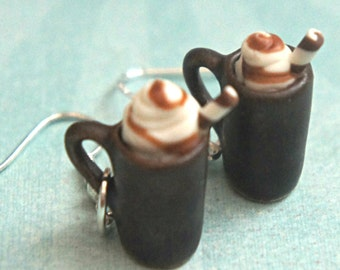 caramel macchiato coffee earrings- miniature food, food jewelry