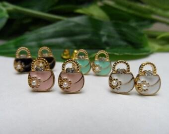 Handbag stud earrings, girls stud earrings,girls birthday gifts, fashion earrings, stud earrings, purse earrings