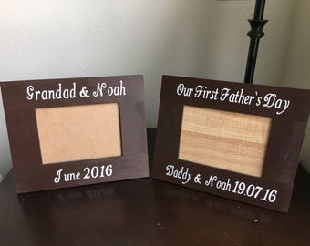 customized fathers day wooden frame 5 x 7 our first fathers day frame hand painted wooden frame