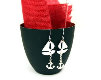 Sterling Silver Nautical Earrings - Yacht Earrings - Marine Earrings – Nautical Jewellery – Sailboat & anchor Earrings