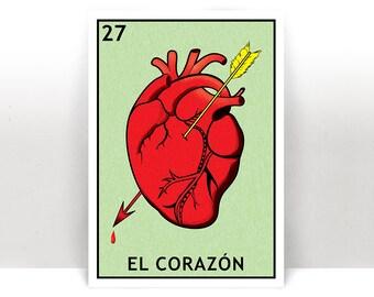 Downloadable El Corazón Lotería - Print - Digital Poster - 8x10 and A4 Size Print