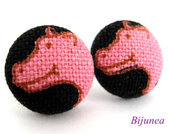 Rhino earrings - Pink rhino stud earrings - Rhino posts - Pink rhino studs - Pink rhino post earrings sf963