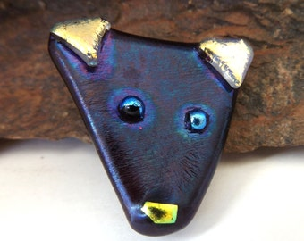 Fused glass dog face brooch pin. Dog lover brooch pin. Dog jewelry. Fused glass dichroic dog pin. Cute, whimsical dog jewelry