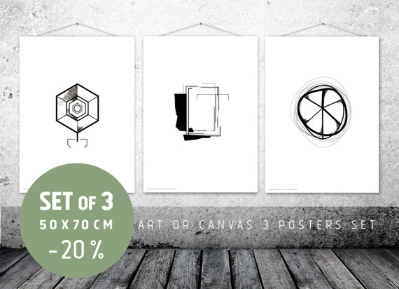 Office Wall Decor Set : Set of wall art office decor trois affiches scandinaves