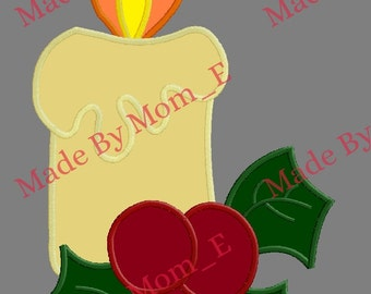 Holiday Candle and Holly Berries Applique