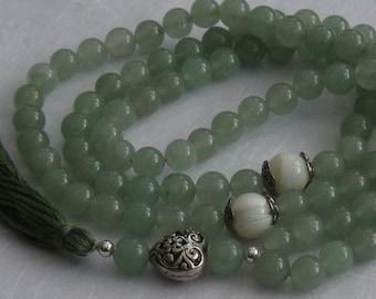 99 Green aventurine Sufi Islamic Muslim prayer beads meditation gemstone 8mm bead tasbih misbaha  Ref 12116