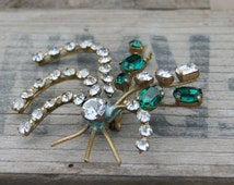 1930's Diamante and Green Stone Flower Brooch