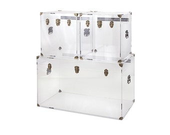 Lucite Furniture | Lucite Coffee Table | Hollywood Regency Decor | Brass | Trunk |  Table and Acrylic Accent Tables | Free Shipping