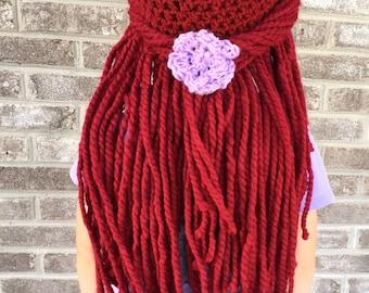 Princess wig, crochet princess hat, mermaid hat, mermaid hair, red hair wig, red yarn wig, toddler princess hat, crochet mermaid hair.