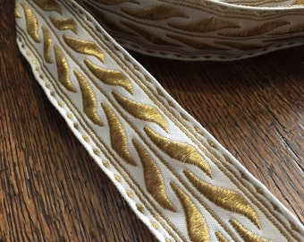 """Vintage French Brocade Ribbon, a thick white and Iridescent Gold design, 1 1/2"""" wide"""