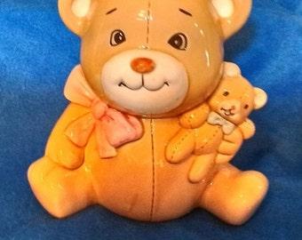 Vintage Ceramic Teddy Bear with Baby Bear Coin Bank