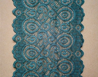"Teal Table Runner, Green Lace Table Runner, 7"" wide, Wedding Decor, peacock weddings, Overlay, Teal Table Runner, wedding table runner"