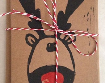 Handmade Rudolph Christmas Cards, pack of 5