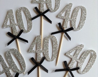 12 x 40th Cupcake Toppers, Silver Glitter 40th Birthday Cupcake Toppers, 40th Birthday Party Decor, Black and Silver, 30, 40, 50, 60