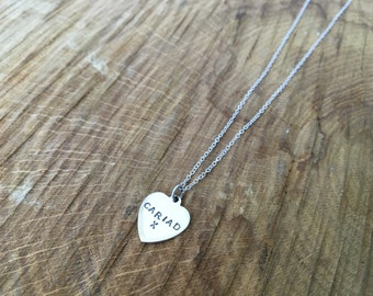 Sterling silver stamped heart necklace