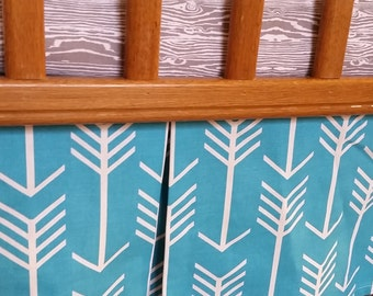 Crib Skirt Turquoise Arrow Pleated - modern baby woodland crib skirt Baby Boy crib skirt
