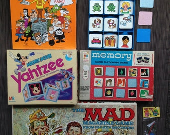 Board Games, Memory, Bullwinkle & Rocky Role Playing Game, Mad Magazine, Mickey Mouse Yahtzee, Disney Yahtzee, Peabody Rocky, Bullwinkle