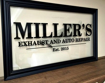 Custom Sign, Custom Business Sign, Office Sign, Personalized Established Wall Sign, Commercial Business Sign, Glass Frame 10X20