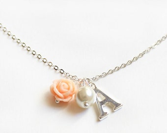 Personalized flower girl necklace, flower girl gift, wedding gift, bridal party gift, flower girl necklace, childrens necklace