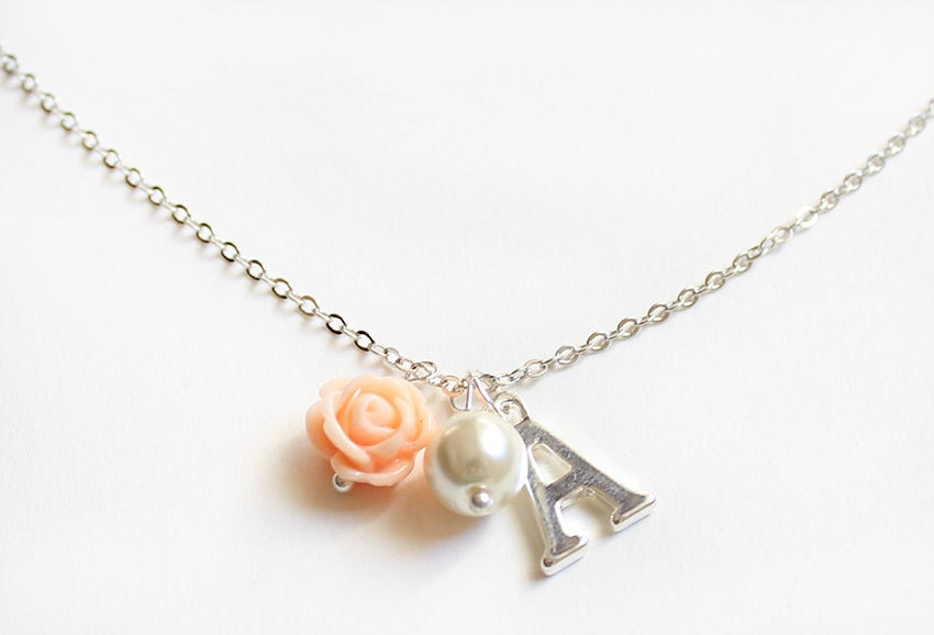 Personalized flower girl necklace flower girl gift wedding
