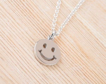 Smile Necklace, Smile Face, Sterling Silver