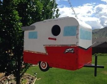1961 Shasta Camp Trailer Birdhouse - red