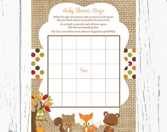 Fall Woodland Baby Shower Bingo Cards, Woodland Baby Animals Bingo Card, Instant Download PDF Printable