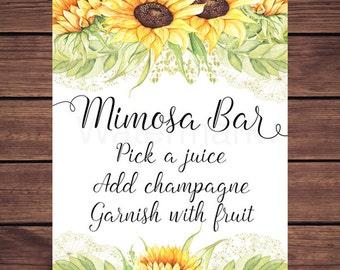 Mimosa Bar Sign, Sunflower Mimosa Bar Sign, Sunflower Mimosa Bar Sign, Sunny Sunflowers Instant Download PDF Printable 212