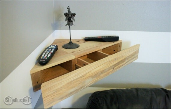 Reclaimed Pallet Wood Corner Floating Shelf Or Night By