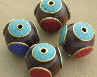 4 Beads  - Brass Tibetan Nepalese Handmade Resin Turquoise Lapis Coral Nepal B61A