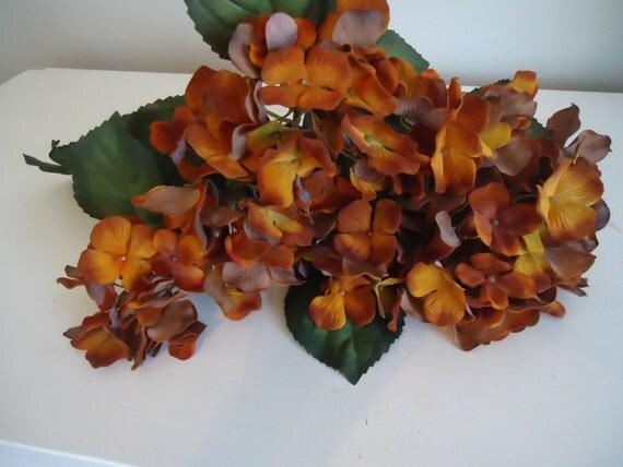 6 Hydrangea Silk Floral Bushes Rustic Faux Flowers Terra