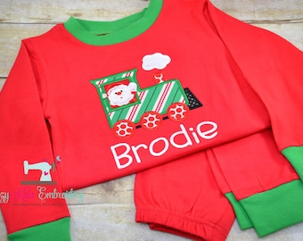 Christmas pajamas, santa train polar express boy girl child kid baby toddler infant custom monogram name xmas pjs long sleeve pants