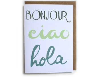 Bonjour Card, Hola Card, Ciao Card, Hello Card, Cute Just Because Greeting Card,