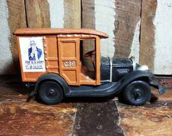 Vintage Antique Cast Iron U.S. Army Uncle Sam Nearest Recruiting Station US Mail #236 Delivery Truck Collectible Toy
