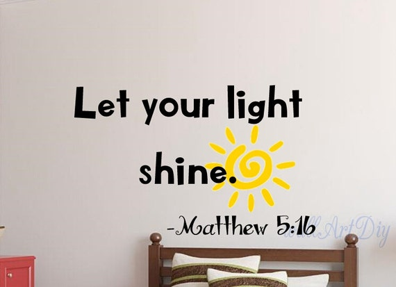 Wall Quotes With Lights : Quote wall decals Let your light shine quote wall by WallArtDIY