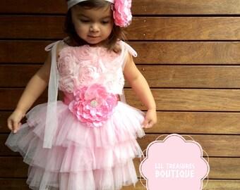 Girls Pink TuTu Dress. Pink Princess Dress. Flower Girl Dress. Pink Toddler Dress.