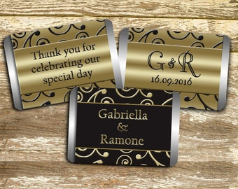 Candy Wrappers - Black and Gold Wedding, Wedding Favors, Wedding Chocolate Favors, Personalized Hershey, Bridal Shower Favor, Candy Wraps
