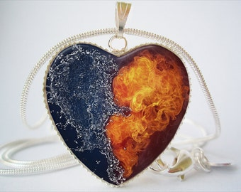 Fire and Water Heart Pendant