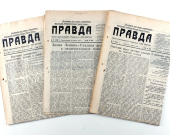 1945 Soviet Russia WW2 War time Russian 3 Propaganda Newspapers PRAVDA